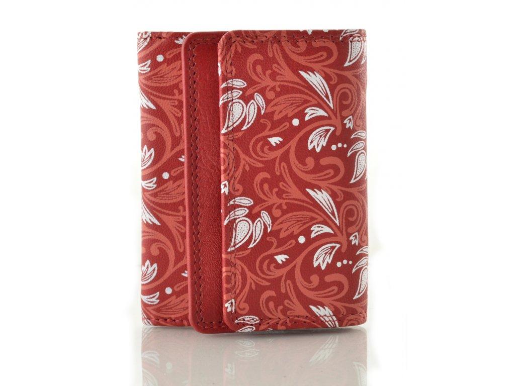 Malá kožená peněženka - červená kytky