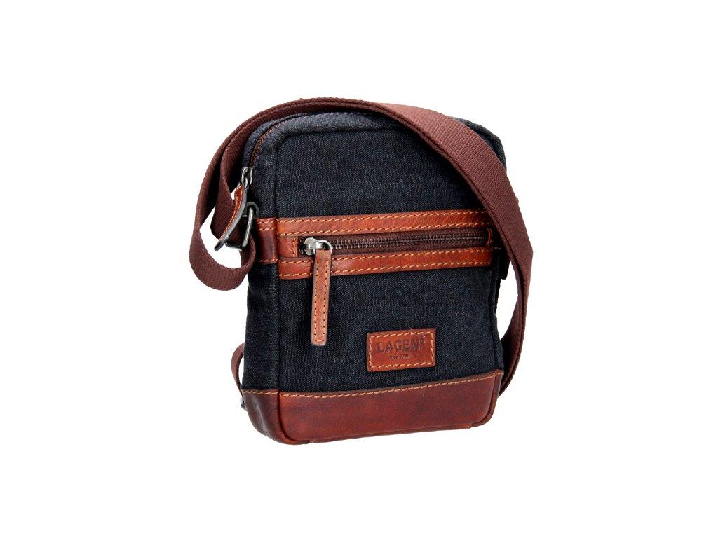 Menší koženo-textilní taška přes rameno