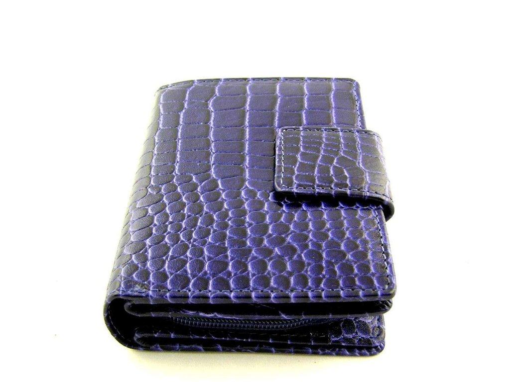 Kroko kožená peněženka Lagen - modro-fialová