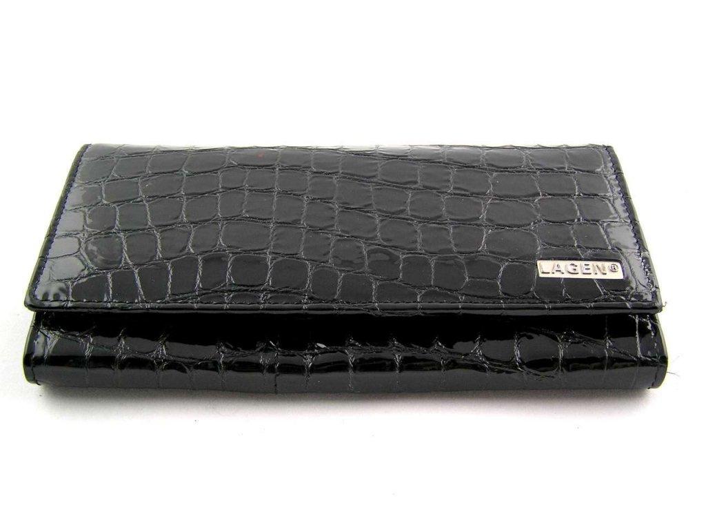 Luxusní dámská peněženka Lagen - lesklá černá
