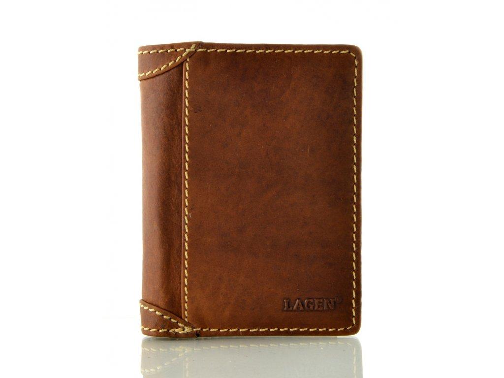 Moderní kožená peněženka na výšku - světle hnědá