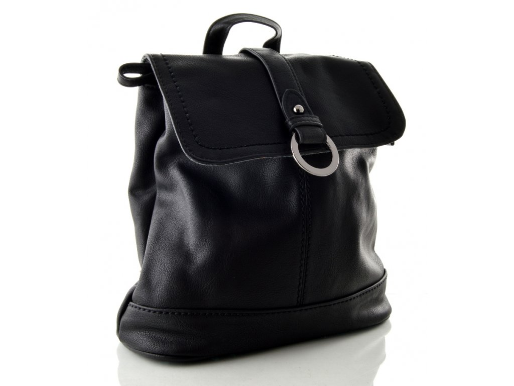 Koženkový batůžek Melanie Paris - černý