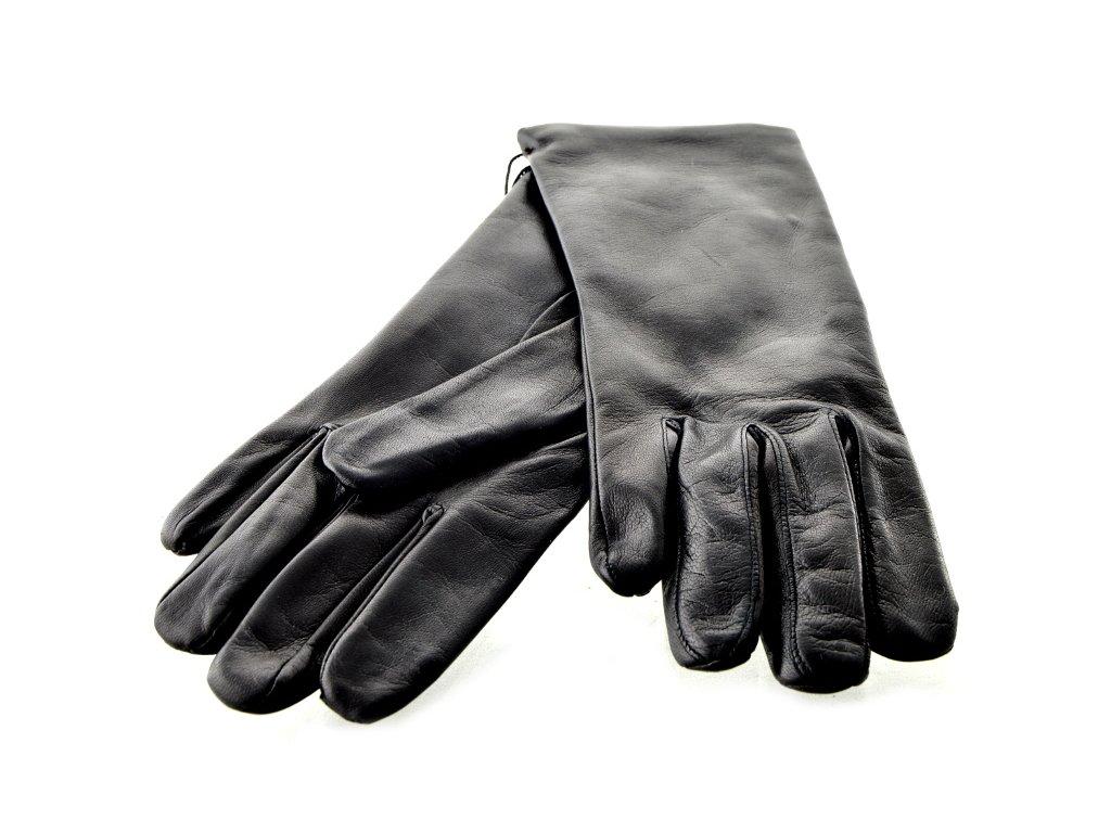 Krátké dámské kožené rukavice - černé