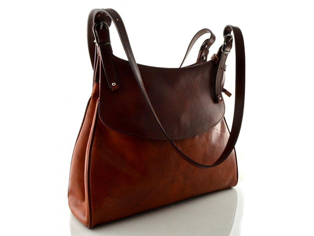Elegantní kožená kabelka Silvercase - hnědooranžová