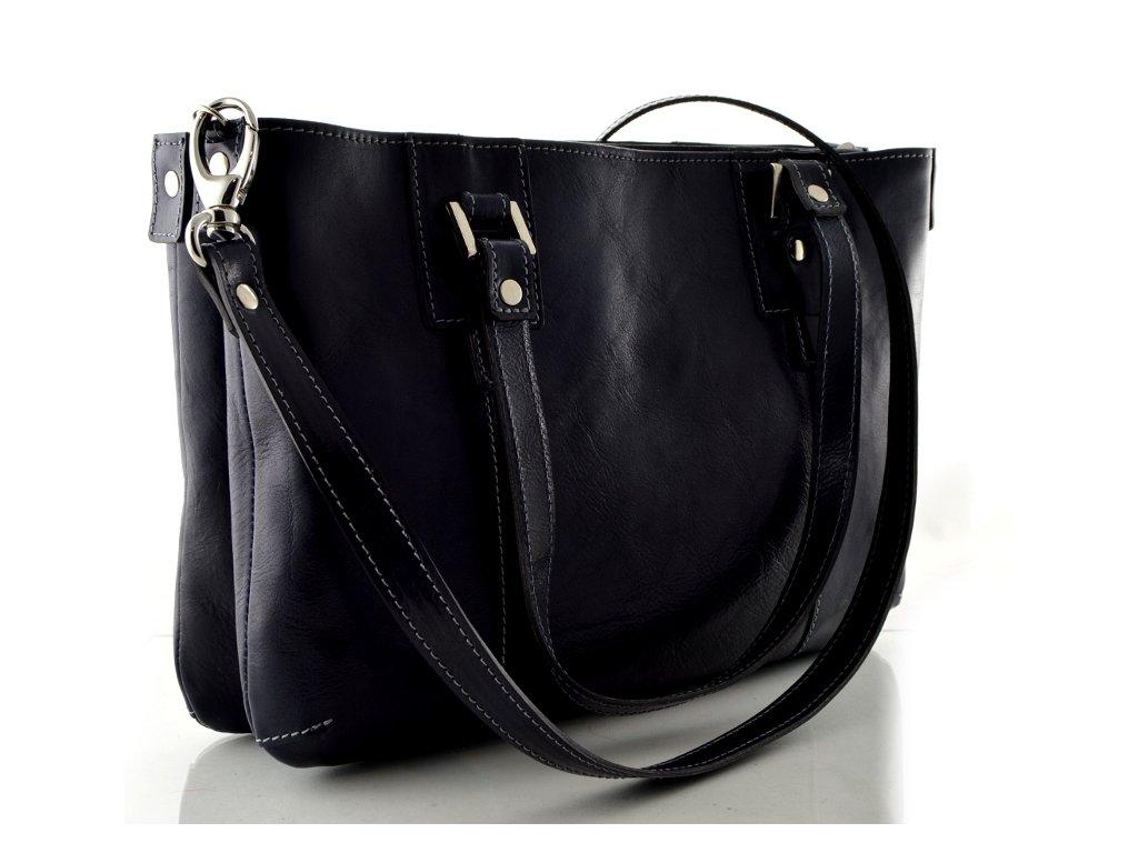 Dvojitá kožená kabelka Silvercase - tmavě modrá