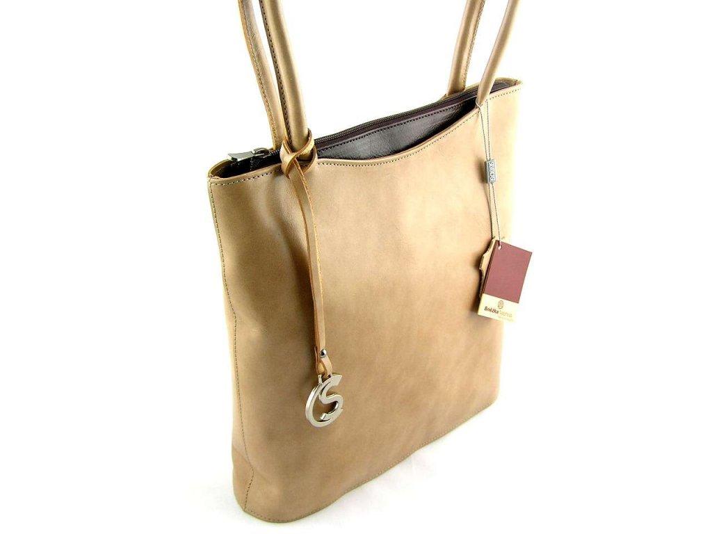Vysoká kožená kabelka Silvercase - oříšková