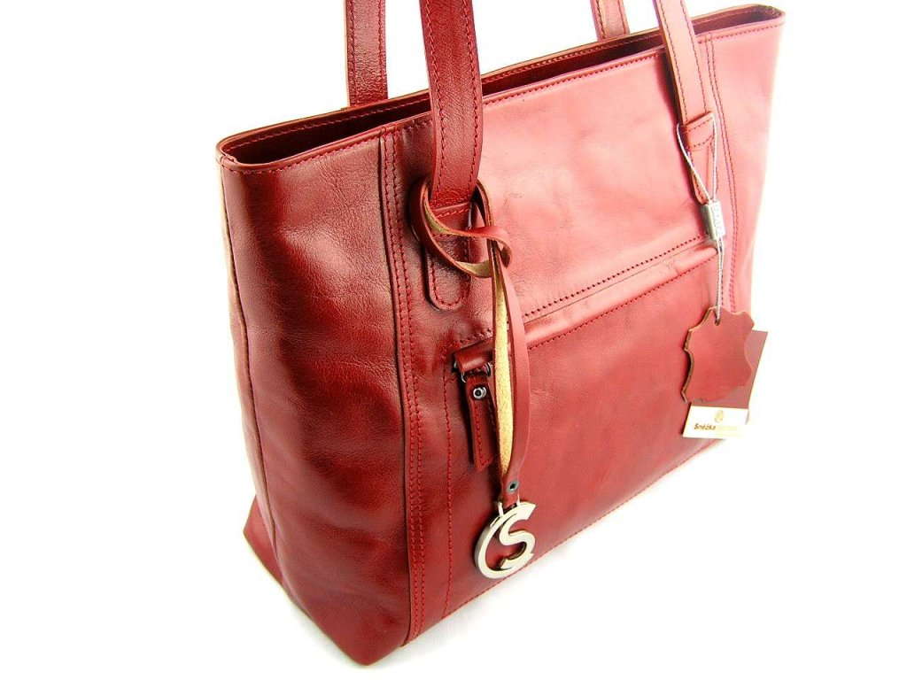 Nadčasová kožená kabelka Silvercase - červená