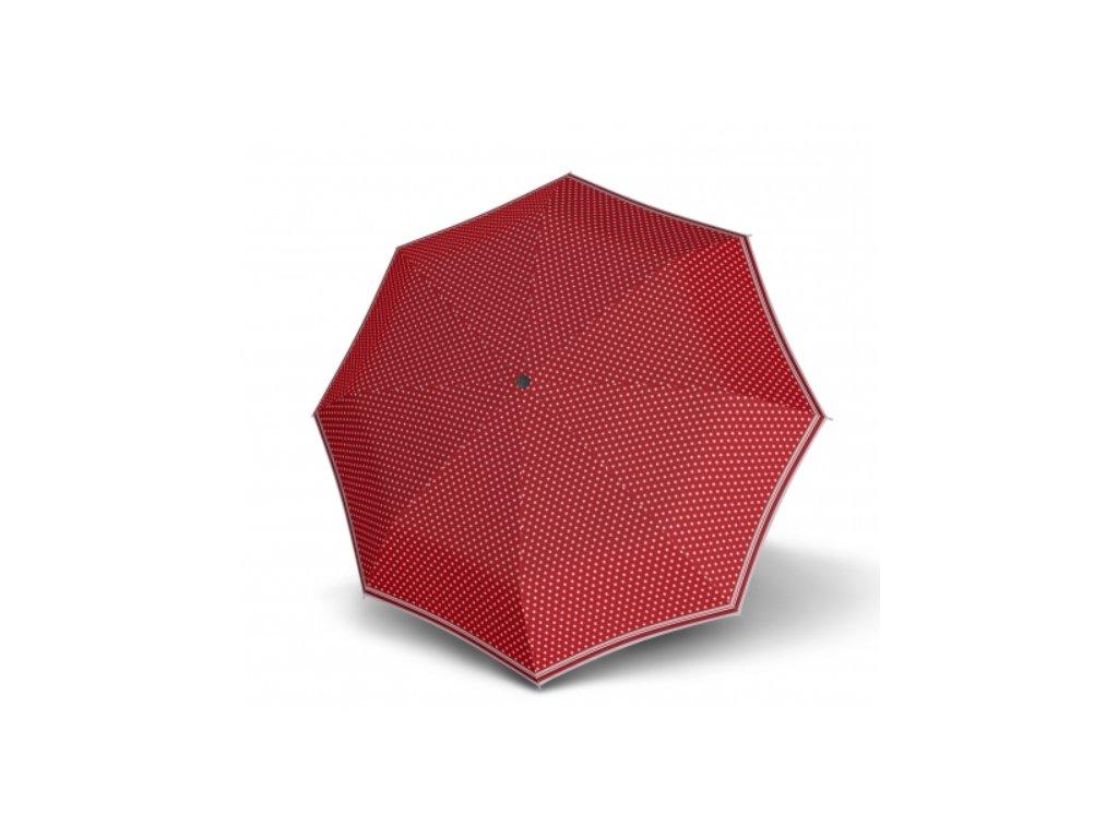 Dámský holový deštník -  červené hvězdičky