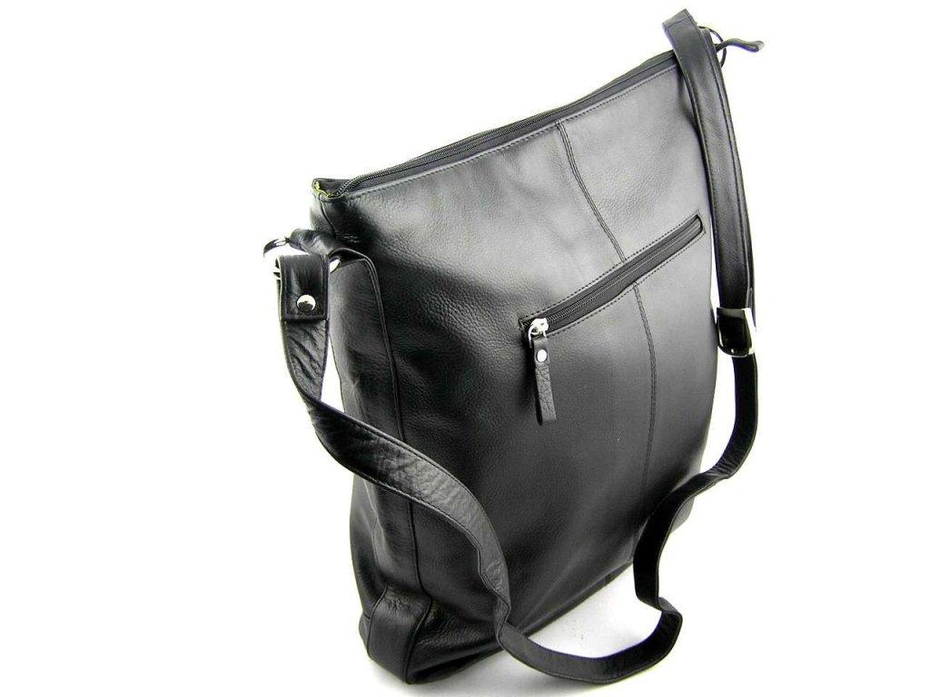 Velká dámská kožená taška přes rameno DD - černá