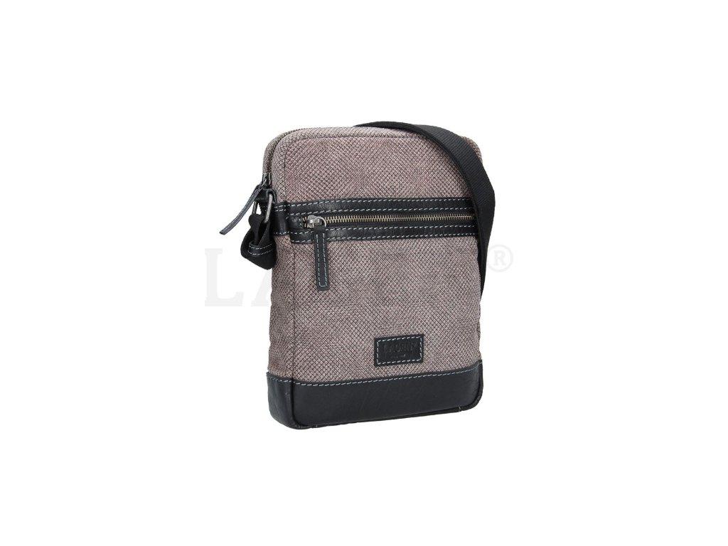 Koženo-textilní taška přes rameno - šedá