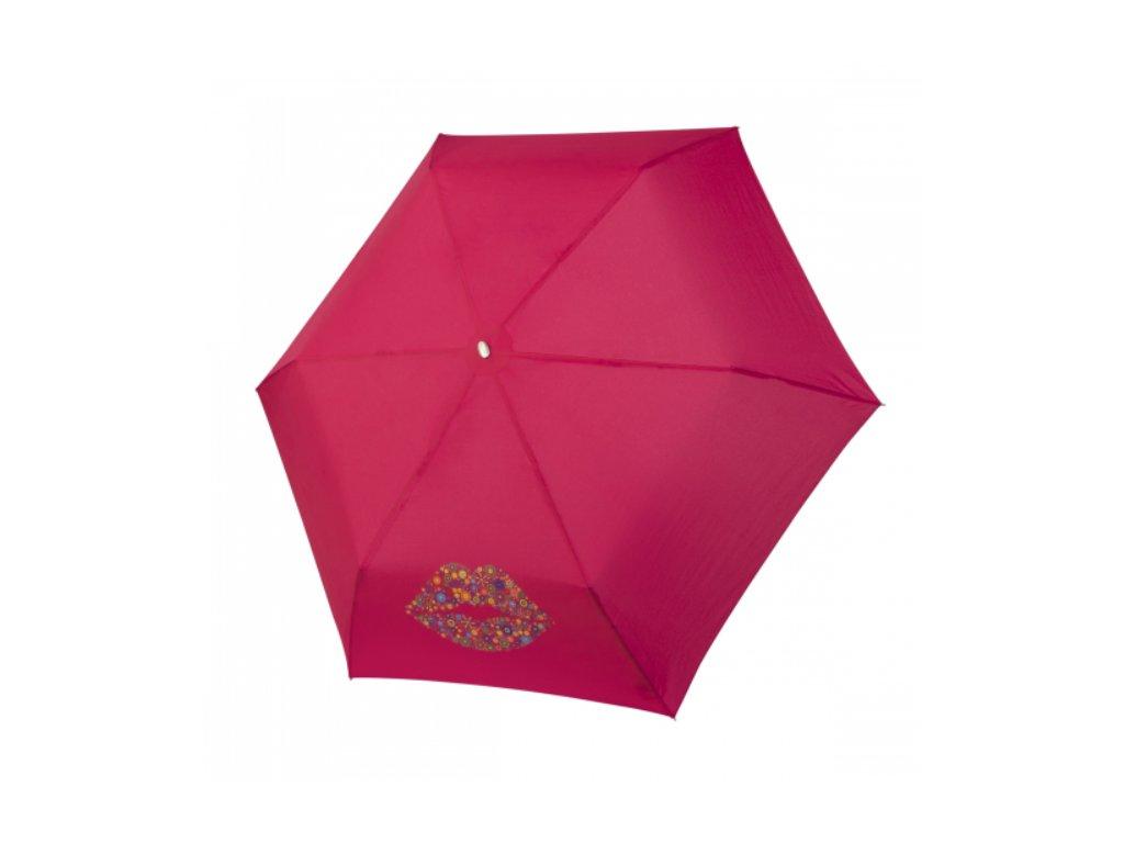 Deštní Doppler placatý carbonsteel slim kiss - růžový