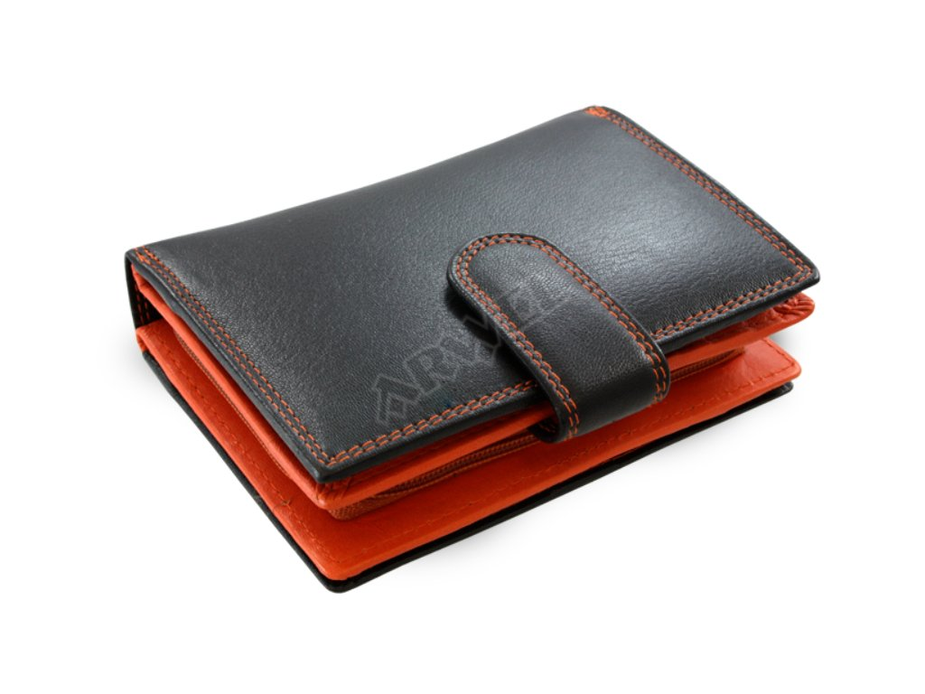 Kožená peněženka Arwel s přezkou - černooranžová