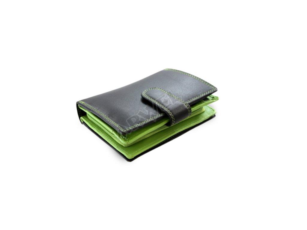 Kožená peněženka Arwel s přezkou - černozelená