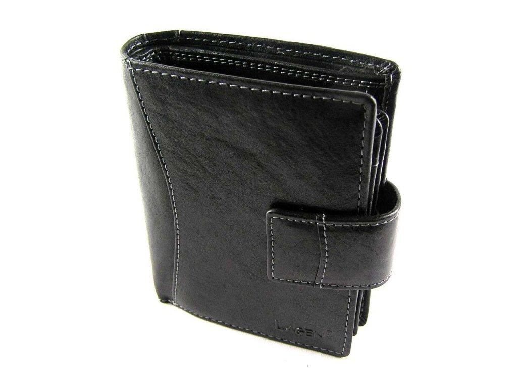 Prostorná kožená peněženka Lagen - černá