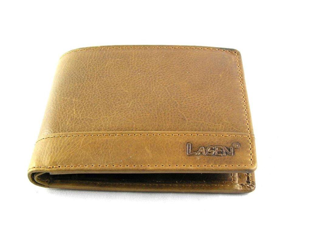 Klasická pánská kožená peněženka značky Lagen - světle hnědá
