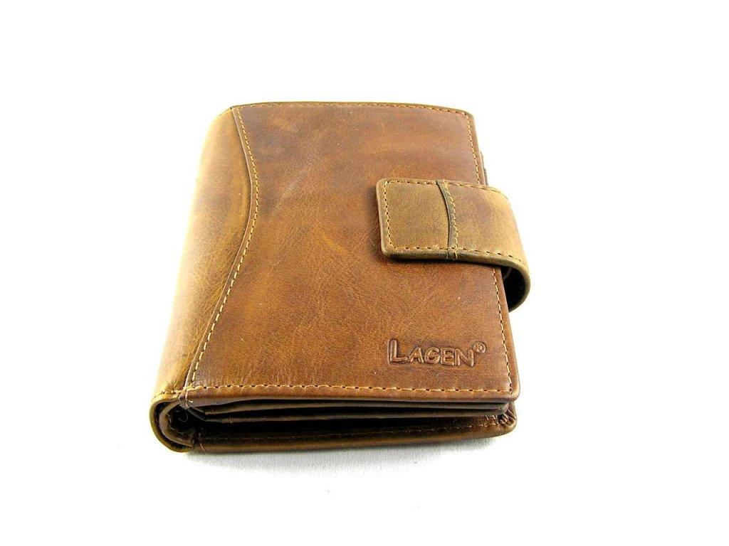 Prostorná kožená peněženka Lagen - hnědá