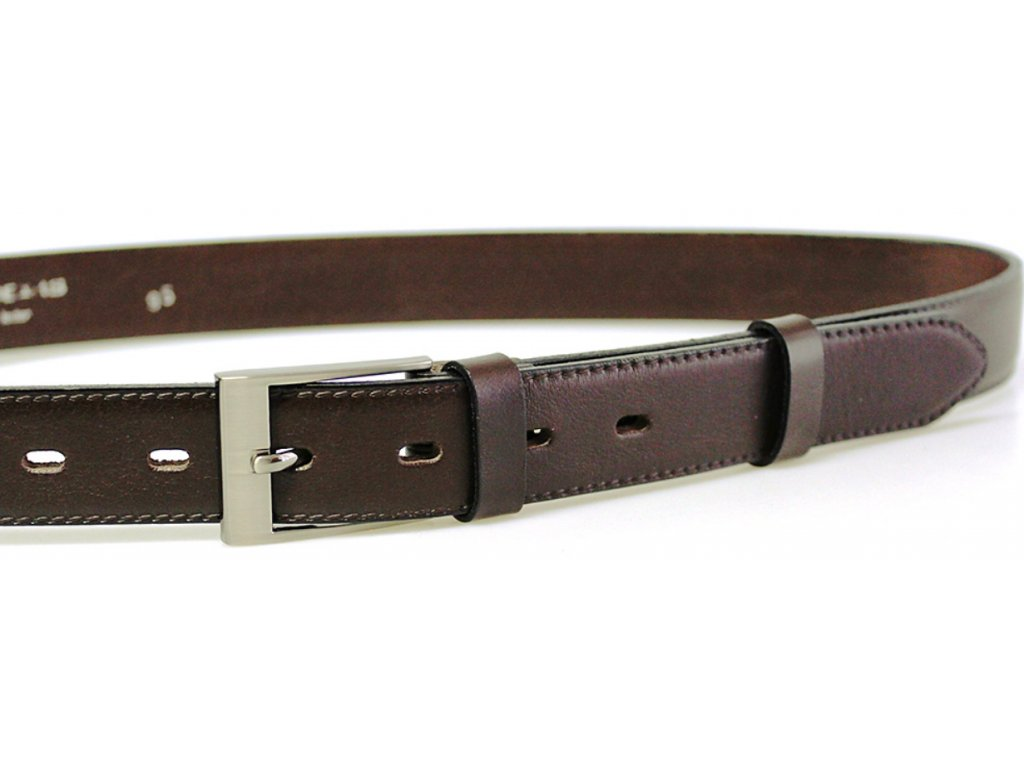 Společenský tmavě hnědý kožený opasek - Penny Belts