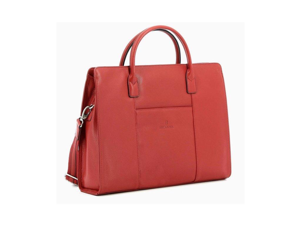 Dámská kožená manažerská taška Hexagona - červená