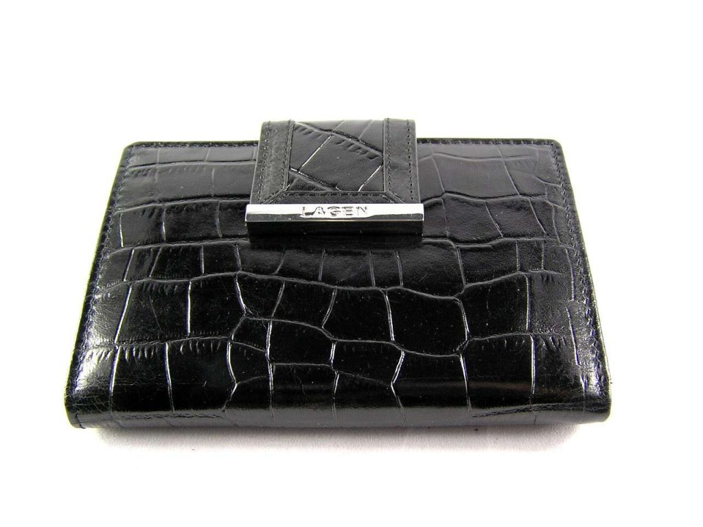 Luxusní kožená dámská peněženka Lagen se vzorem kůže - černá