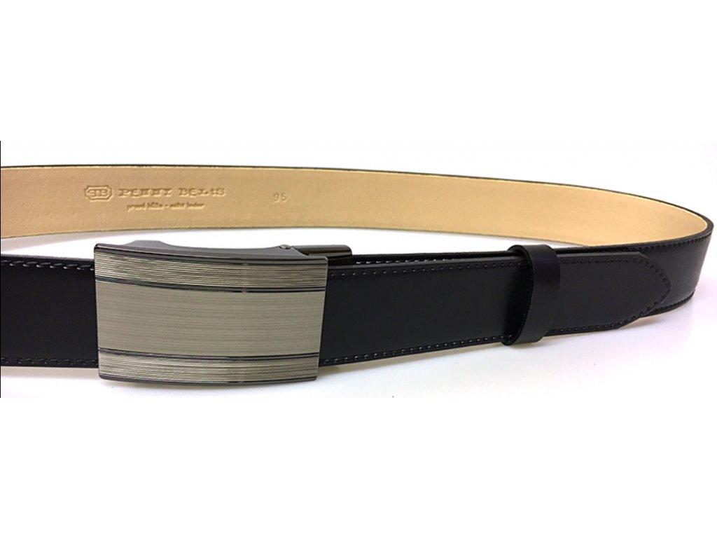 Společenský černý kožený opasek s plnou sponou - Penny Belts