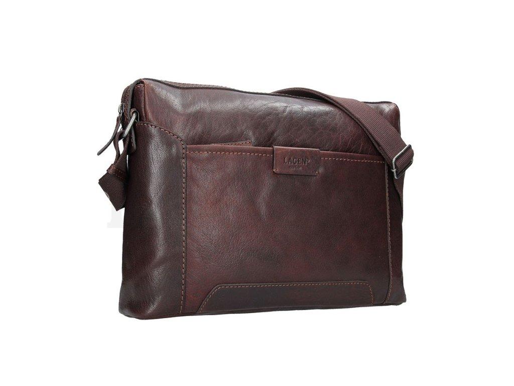 Kožená taška na notebook přes rameno Lagen - tmavě hnědá