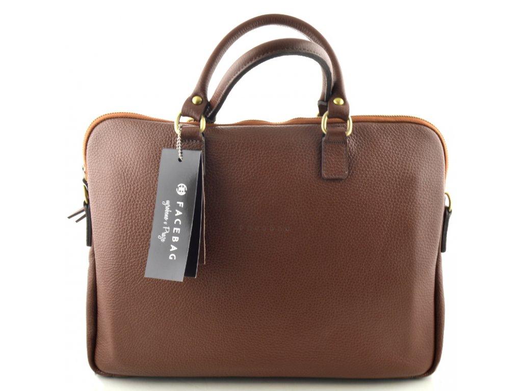 Dámská kožená kabelka FACEBAG GAYA - hnědá