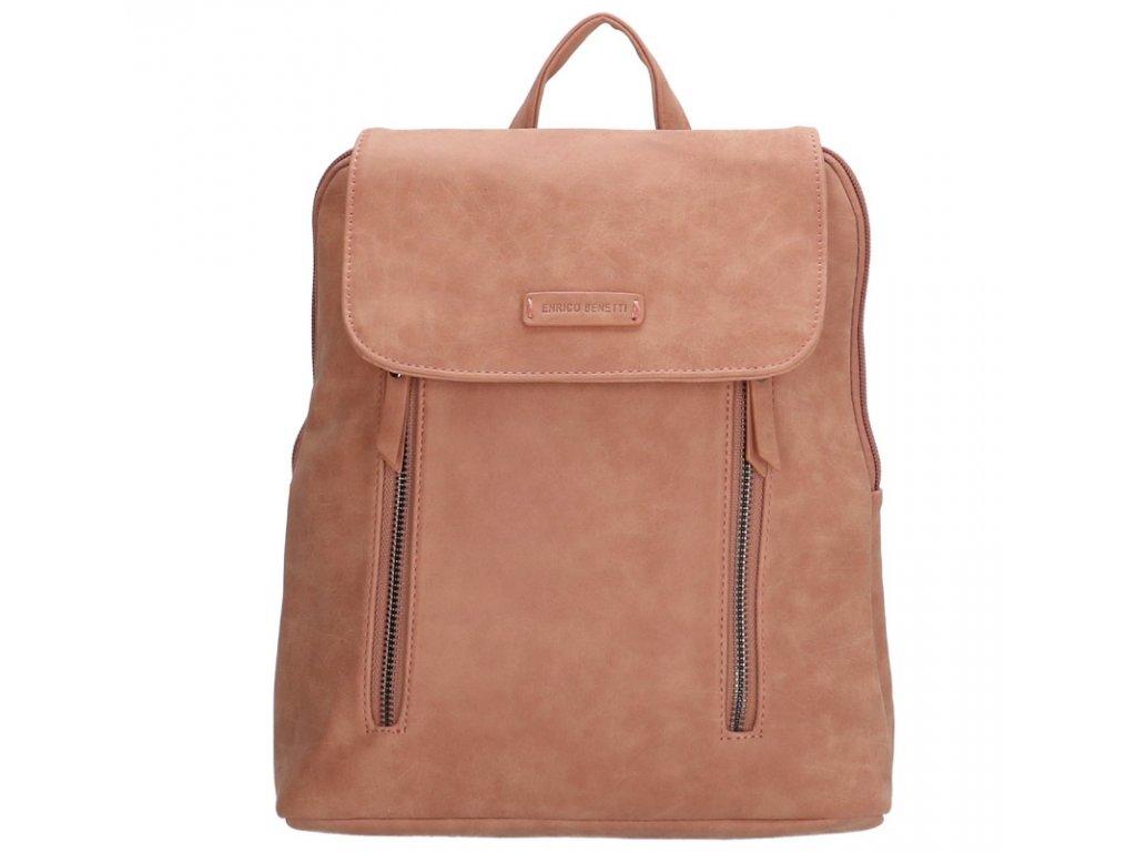 Koženkový batoh Enrico Benetti - růžový