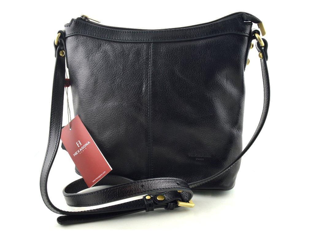 Kožená taška přes rameno Hexagona - černá