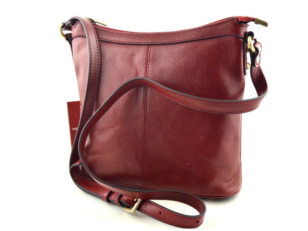 Kožená taška přes rameno Hexagona - červená