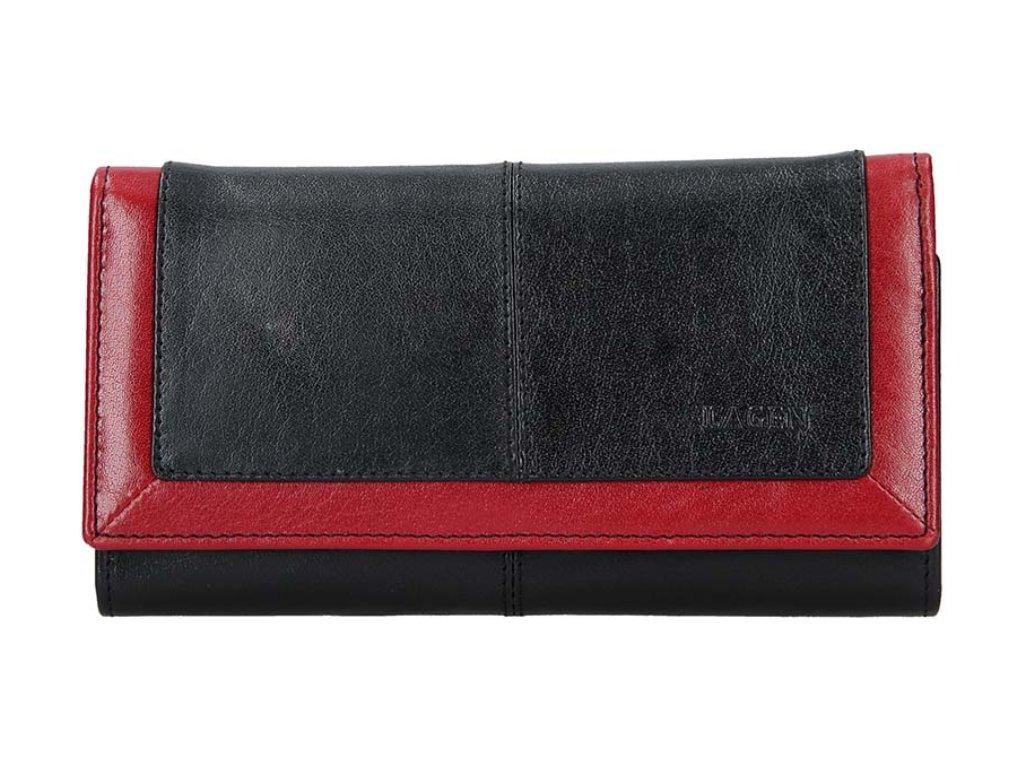 Luxusní kožená peněženka Lagen - černočervená