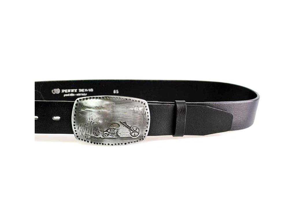 Motorkářský černý kožený opasek s plnou sponou - Penny Belts