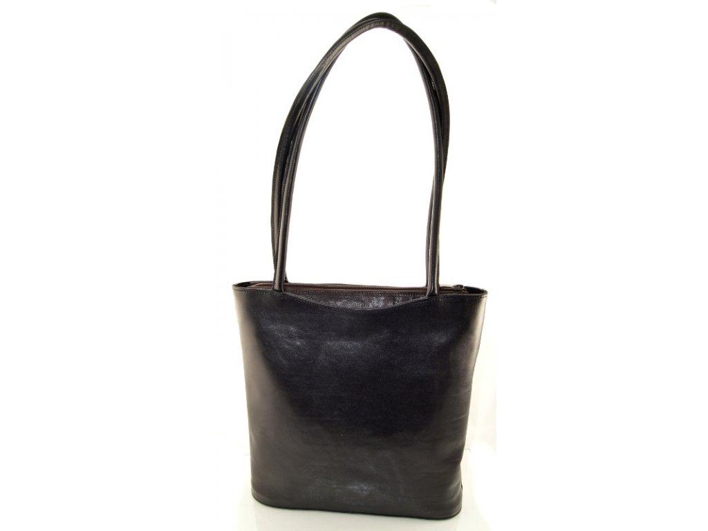 Vysoká kožená kabelka Silvercase - černo tmavě hnědá