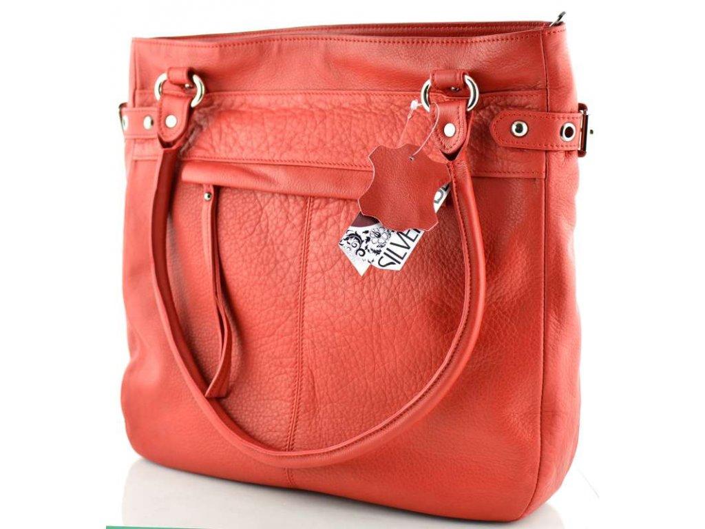 Elegantní kožená kabelka Silvercase- červená