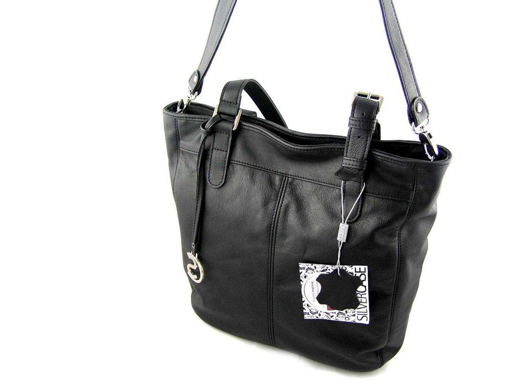Měkká kožená kabelka Silvercase - černá