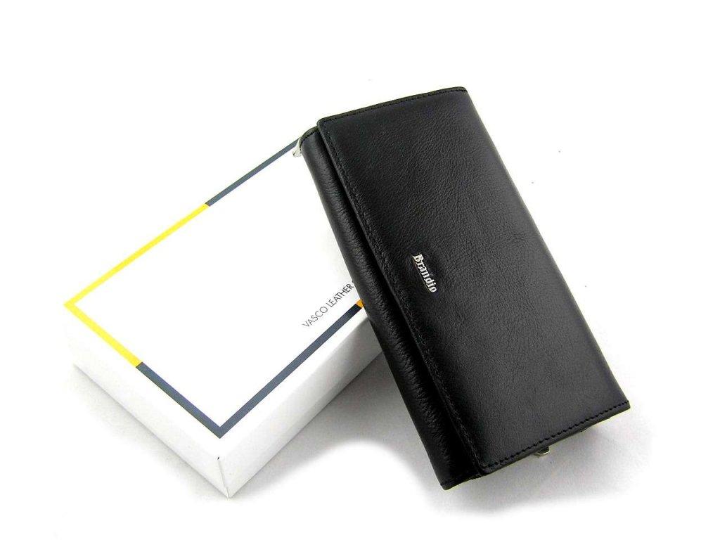 Podlouhlá kožená peněženka Brandio - černá