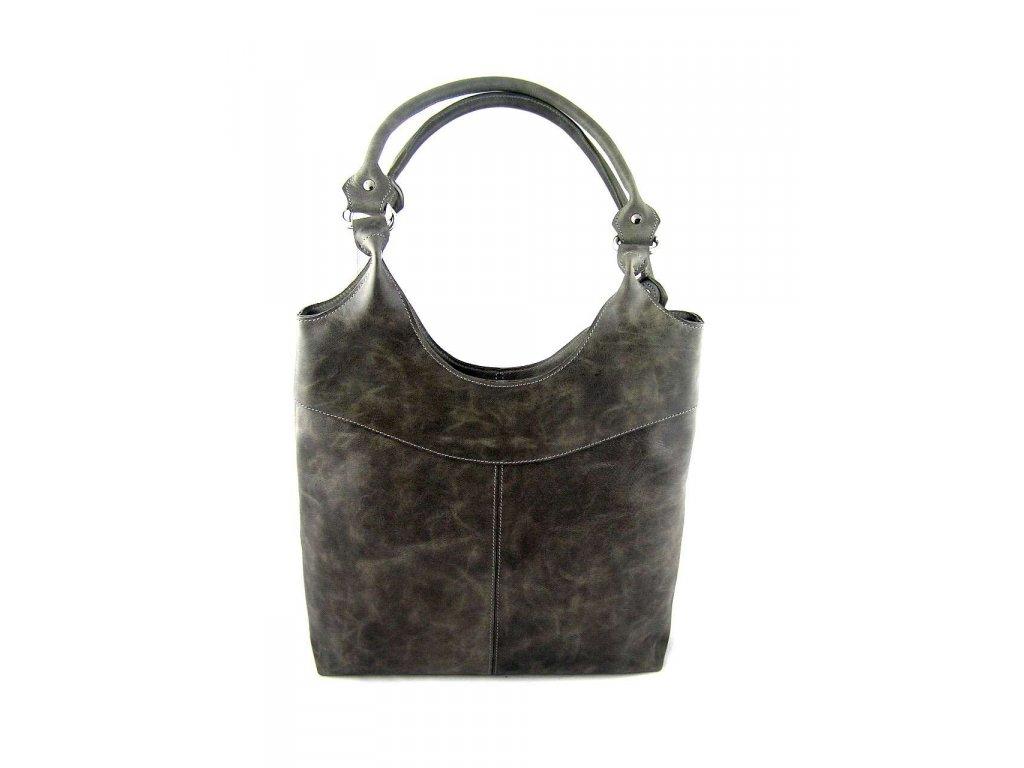 Vysoká kožená kabelka Silvercase - šedo zelená