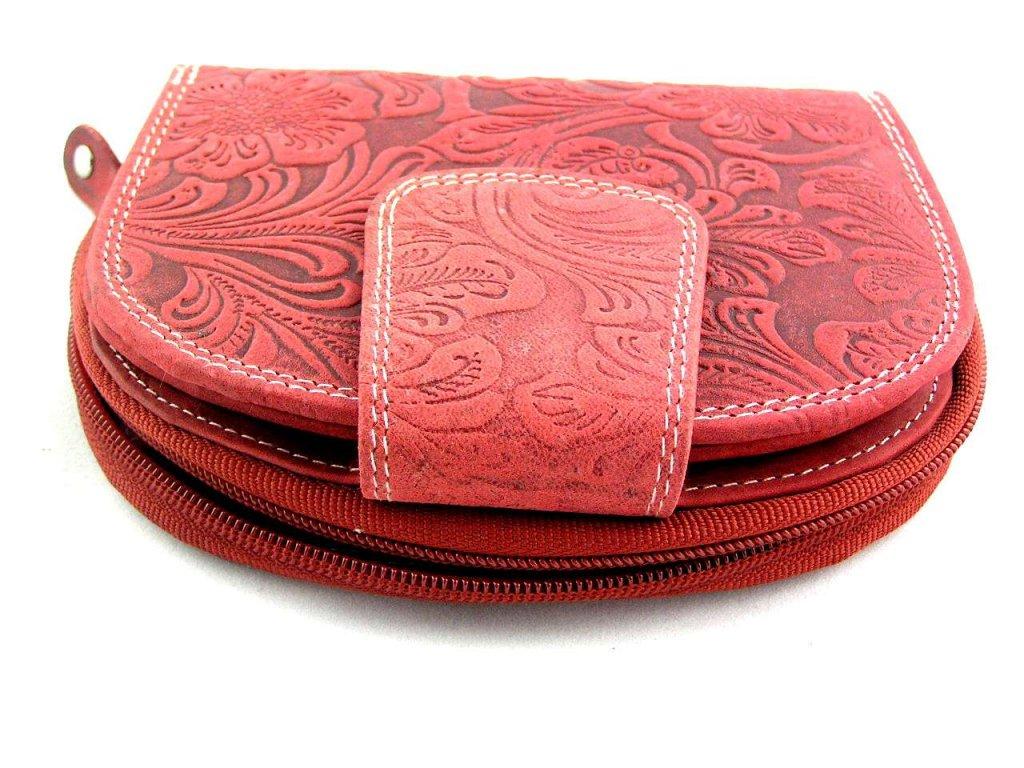 Kožená peněženka s ražbou DD - červená