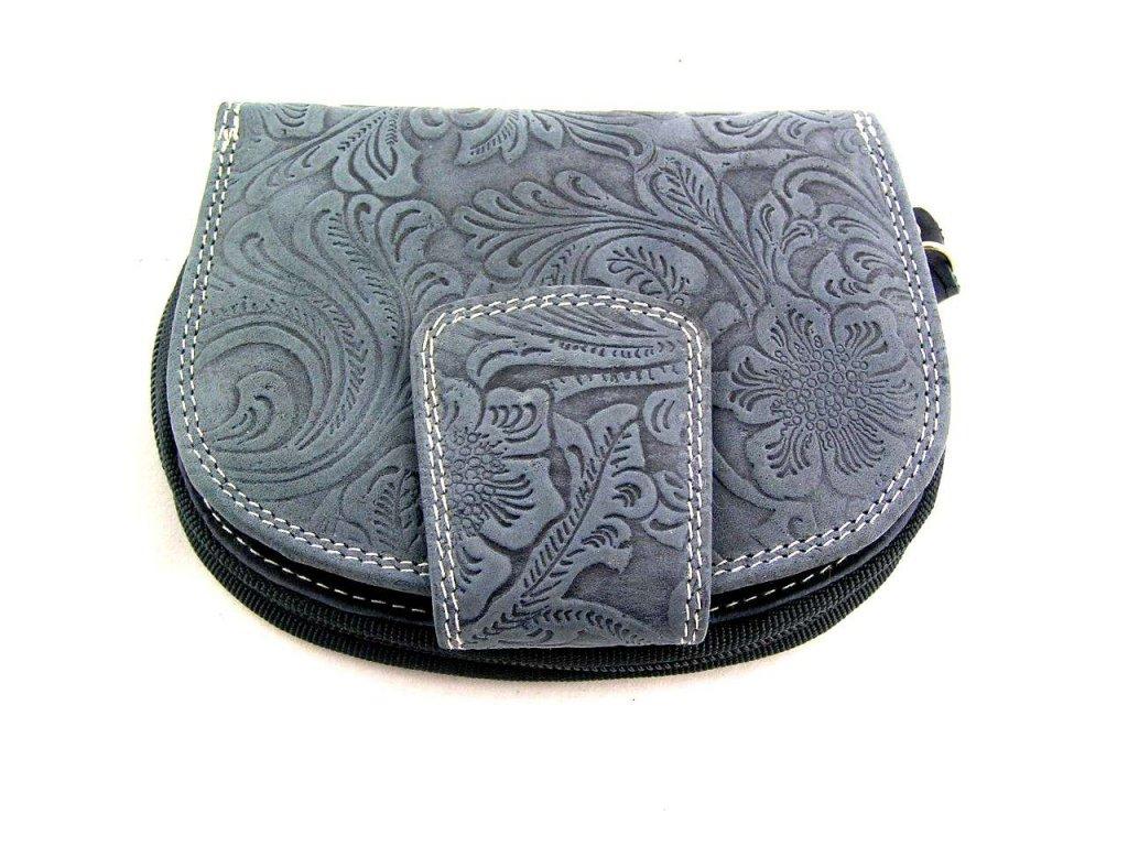 Kožená peněženka s ražbou DD - modrá