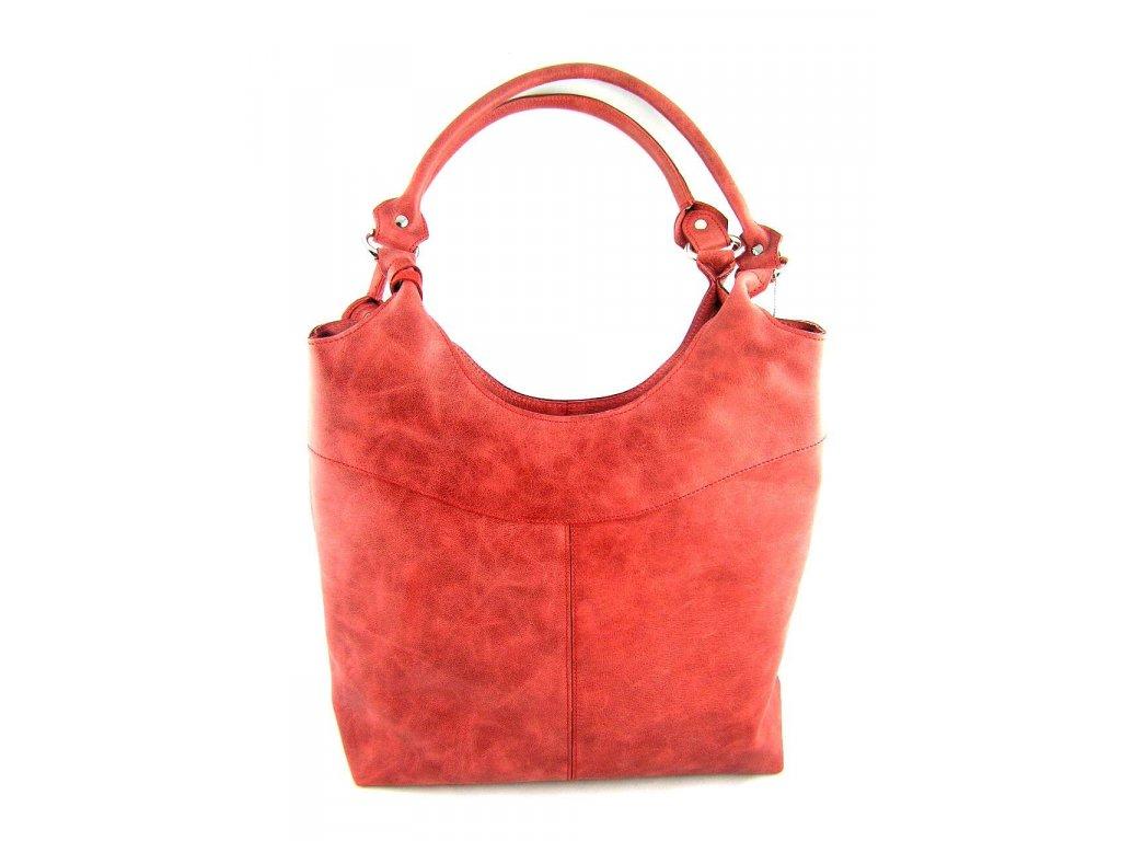 Vysoká kožená kabelka Silvercase - červená