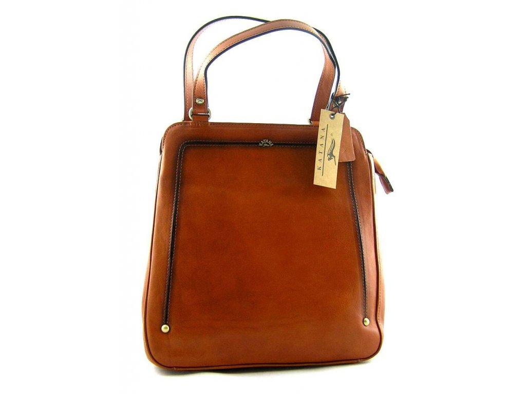 Kožený kabelko-batůžek Katana - hnědo rezavá