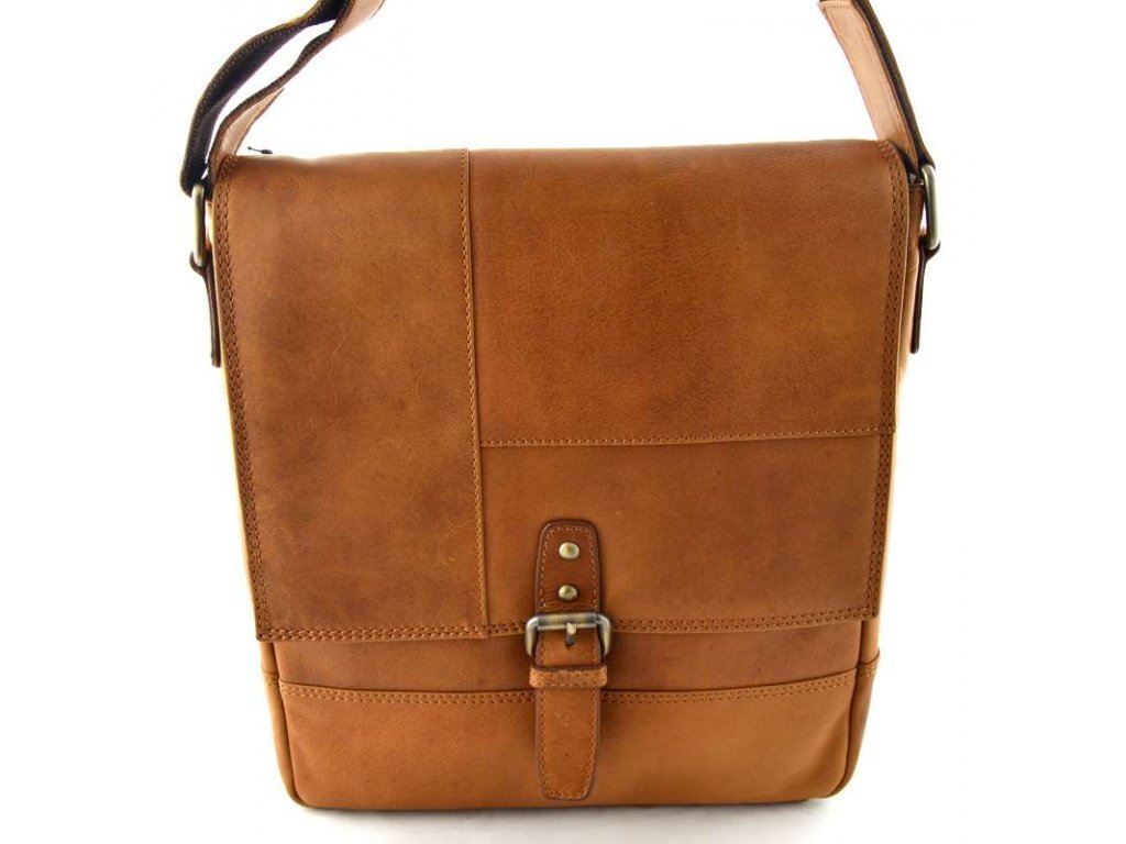 Kožená klopnová taška přes rameno Lagen - hnědá