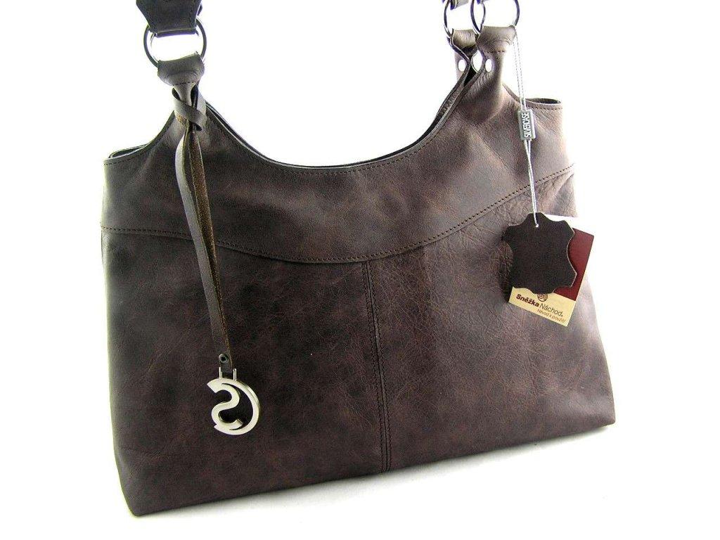 Kožená kabelka Silvercase - tmavě hnědá