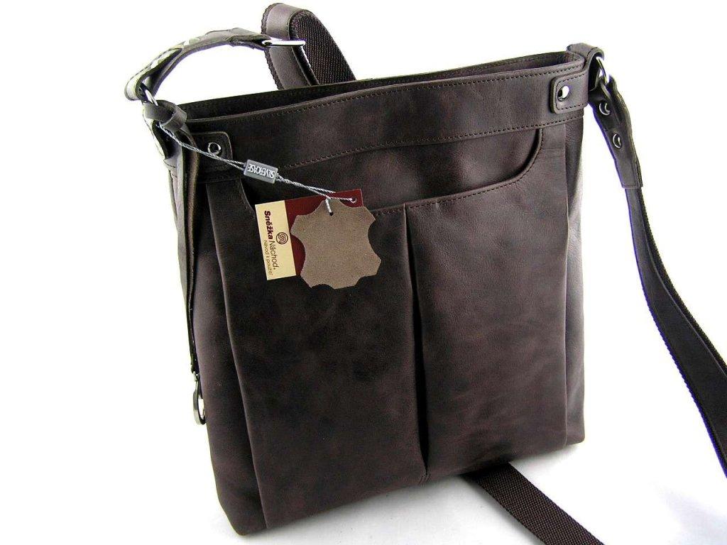 Velká dámská kožená taška přes rameno Silvercase - hnědá