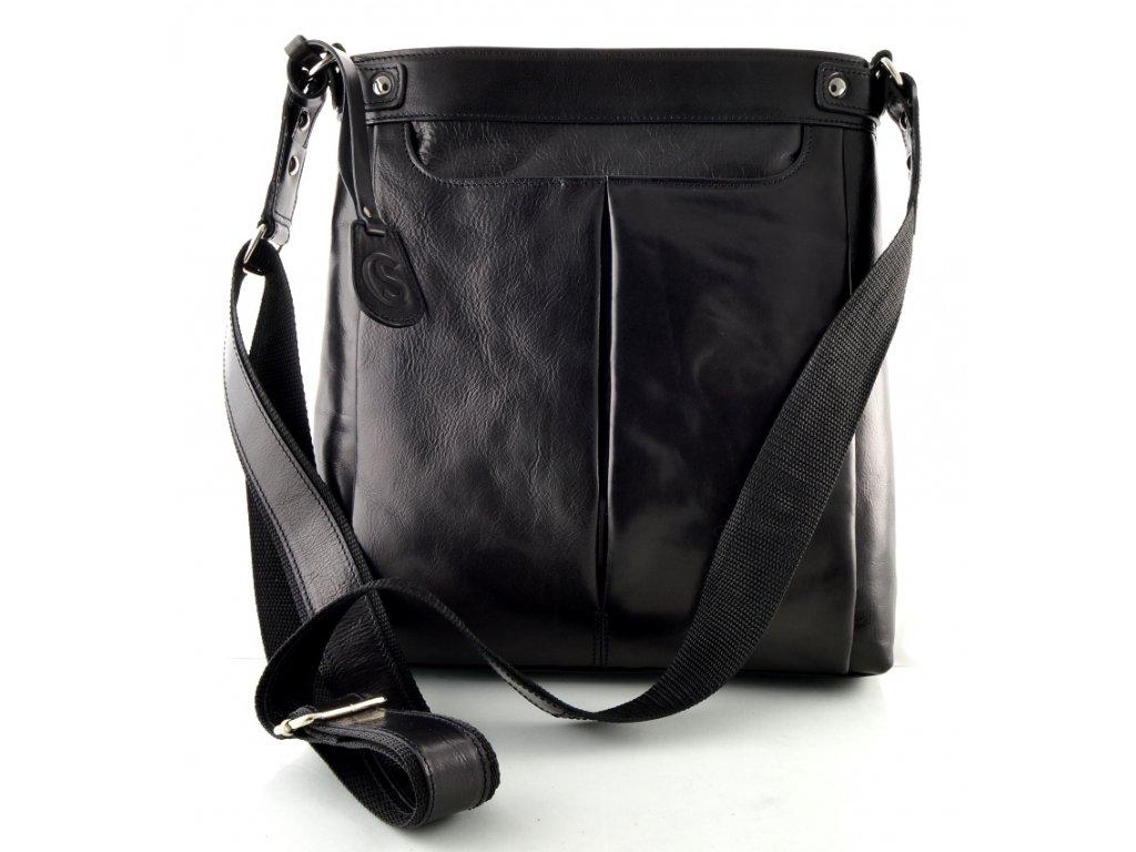 Velká dámská kožená taška přes rameno Silvercase - černá