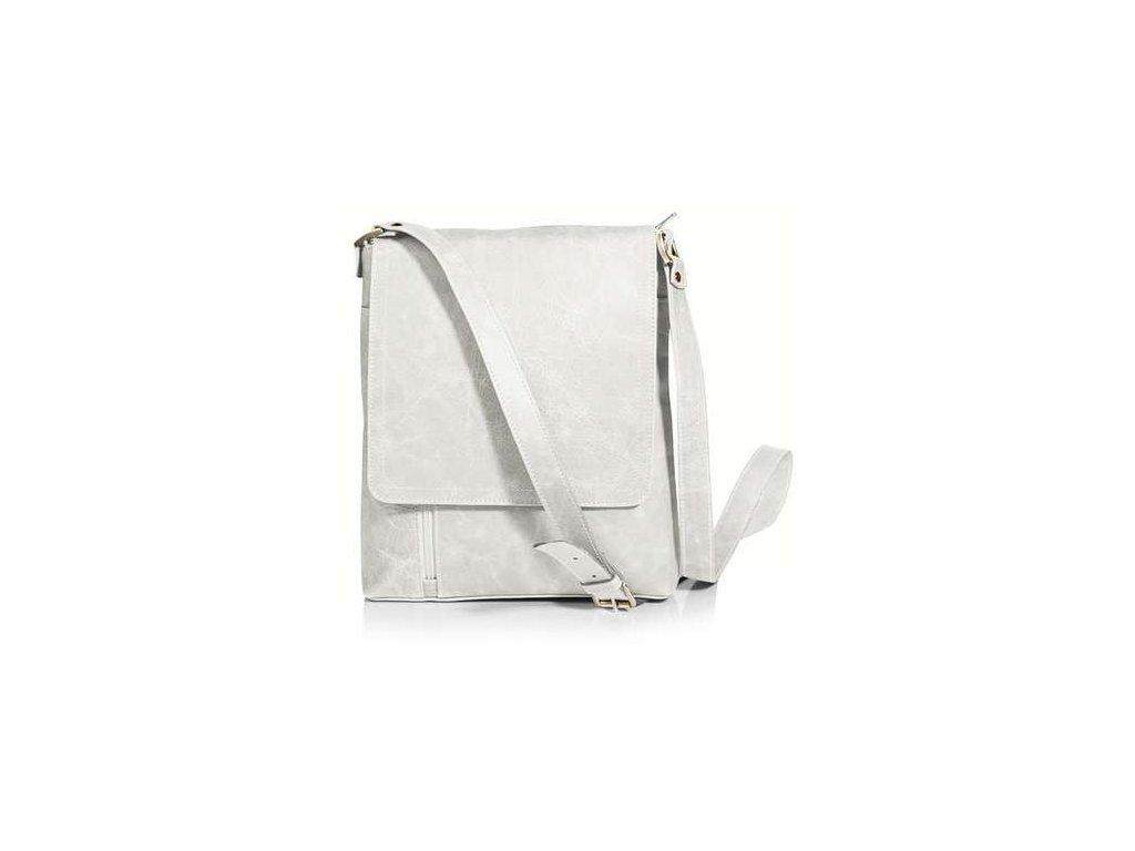 Klopnová kožená taška Silvercase - bílá