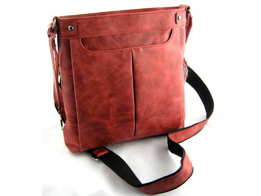 Velká dámská kožená taška přes rameno Silvercase - červená