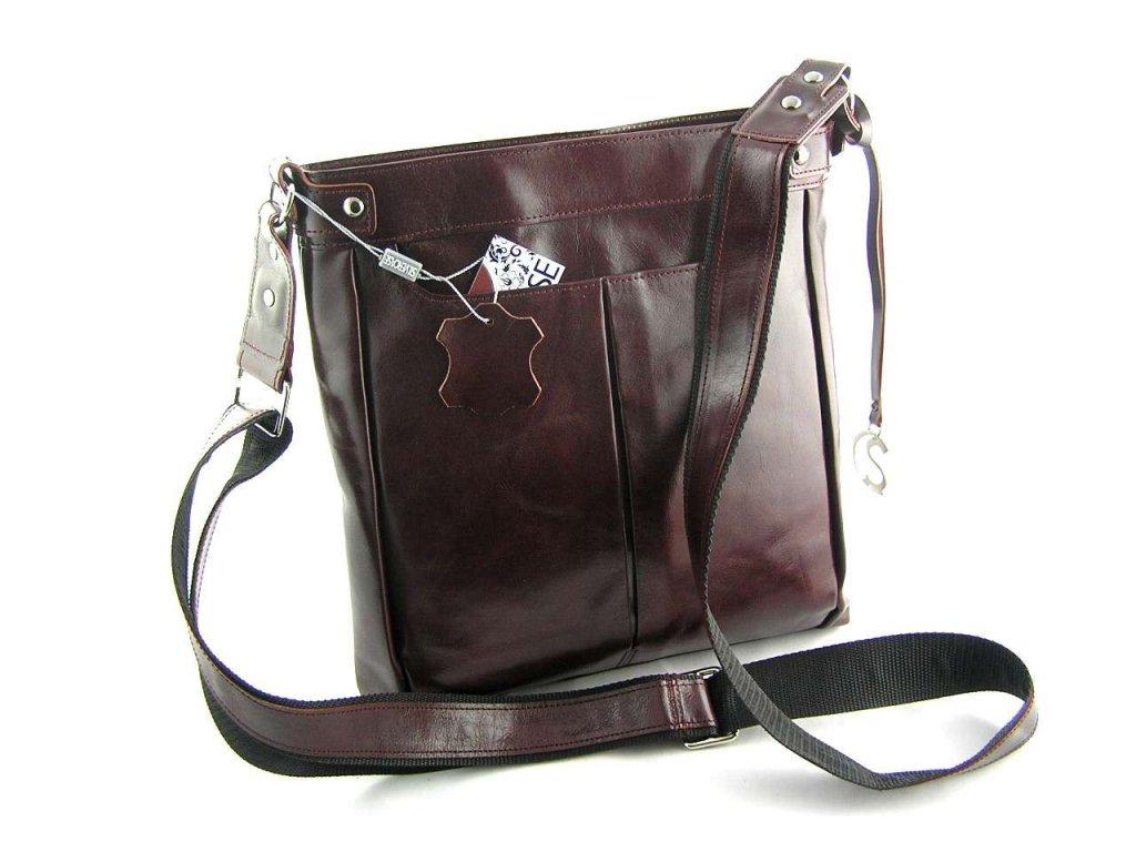 Velká dámská kožená taška přes rameno Silvercase - rubínová
