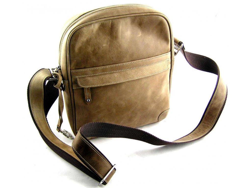 Kožená taška přes remeno Silvercase - světle hnědá