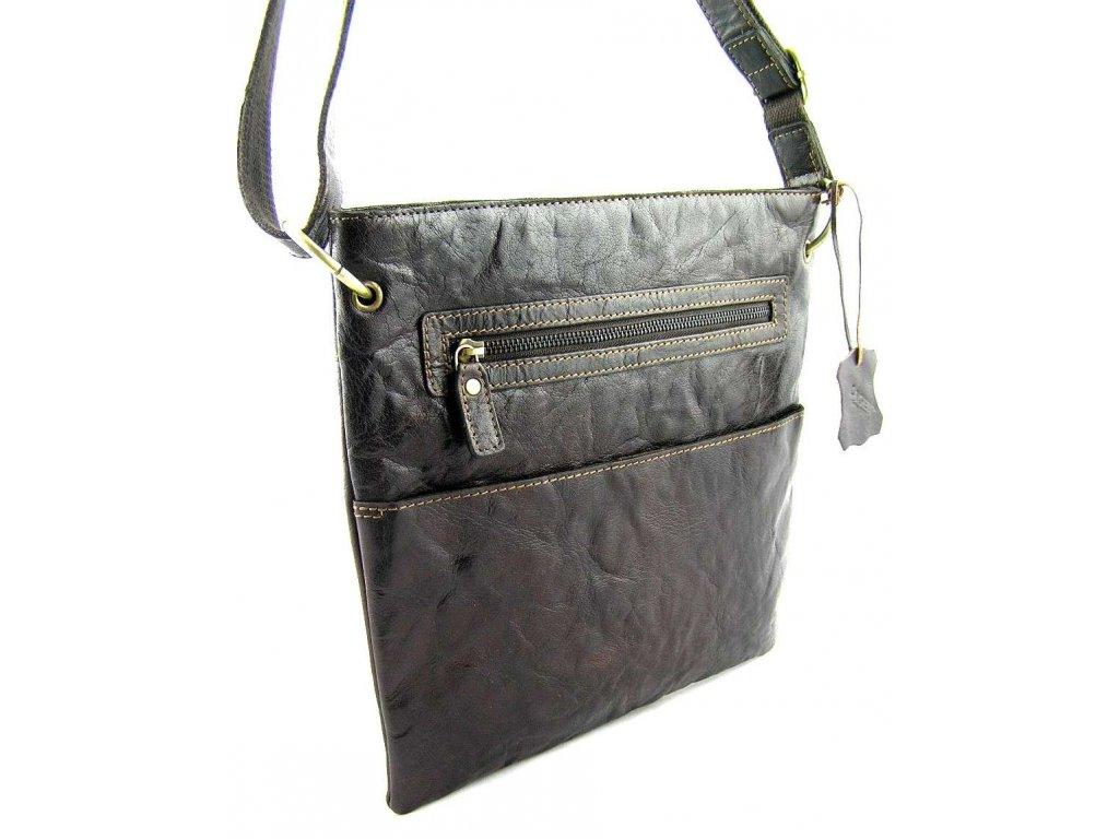Dámská kožená taška přes rameno Lagen - tmavě hnědá