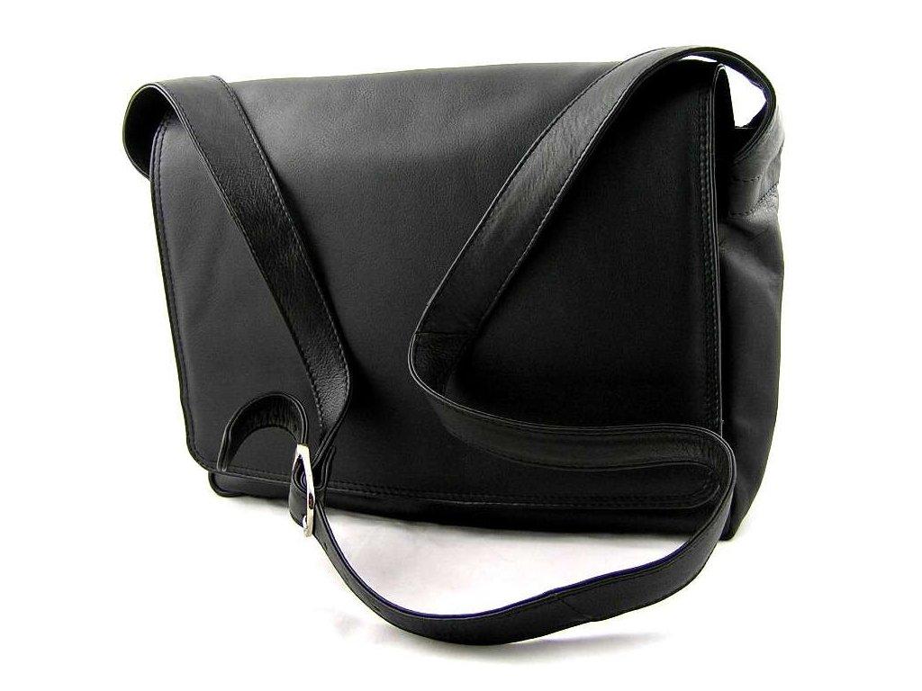 Kožená klopnová taška přes rameno - černá